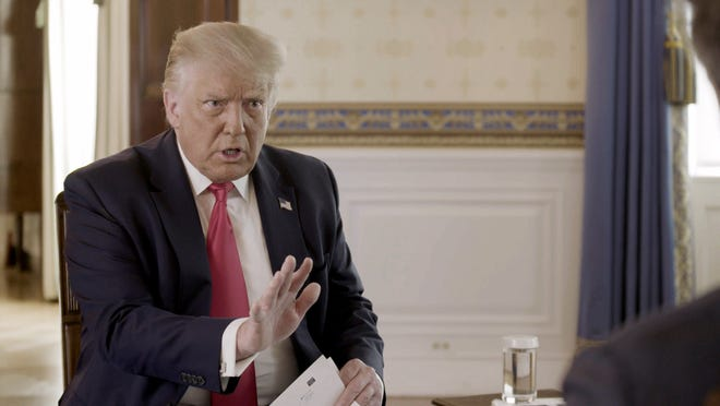 President Donald Trump speaks during an HBO interview with Axios National Political Correspondent Jonathan Swan that aired Monday, Aug. 3, 2020.