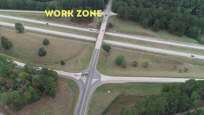 Work zone on I-20.