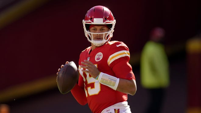 Kansas City Chiefs quarterback Patrick Mahomes looks for a receiver during the second half of last Sunday's game against the New York Jets on Sunday. Mahomes threw for more than 400 yards and five touchdowns, boosting his stock in the 2020 MVP race.