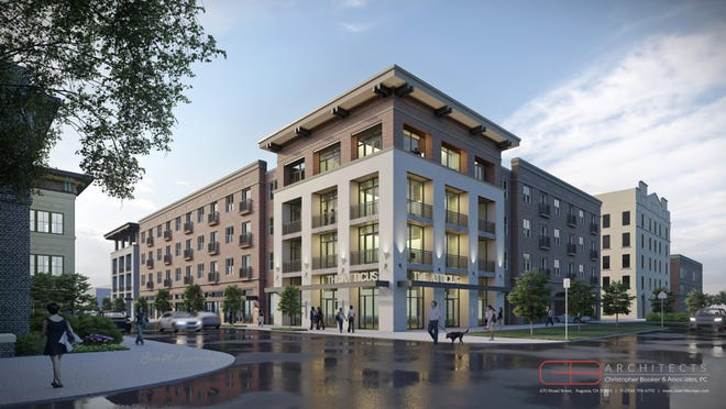 An artist rendering shows a Greene Street view of the 54 unit The Atticus apartment building planned to at the corner of 10th and Telfair streets.