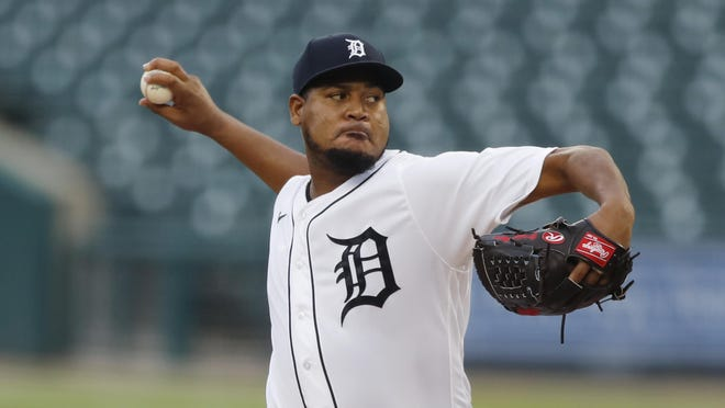 Detroit Tigers' starting pitcher Ivan Nova throws during a baseball game, Thursday, July 30, 2020, in Detroit.