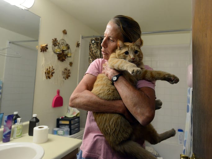 Dr. Anne Little, gathers, Carlos, a four-year-old tabby in Joann Dion's bathroom at Dion's apartment June 17. Little started  doing house calls about nine years ago to meet a need she saw to help pet owners who are elderly, disabled or have lower incomes.