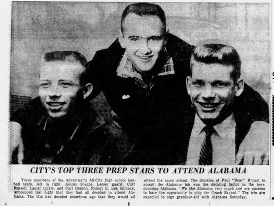Advertiser All-City football players say Bear Bryant coming to Tuscaloosa was the deciding factor for their commitment to Alabama