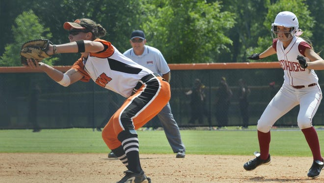 AUM first baseman Jade Sasser, left, returned from a knee injury to lead the Warhawks back to the NAIA Softball World Series.