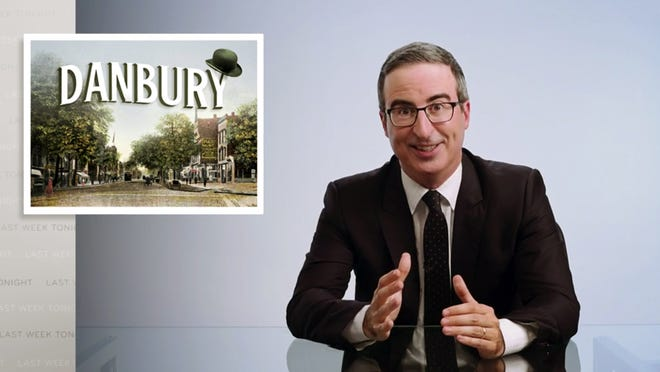 """John Oliver in a video frame grab from his """"Last Week Tonight with John Oliver"""" program on HBO on Aug. 30, when he upped the stakes on Danbury's offer to name its sewage treatment plant after him."""