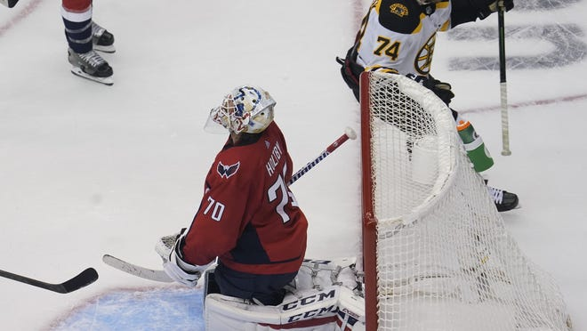 Capitals goaltender Braden Holtby reacts after a goal by Bruins forward Jake DeBrusk (74) in the third period of Sunday's round-robin game at Scotiabank Arena in Toronto.