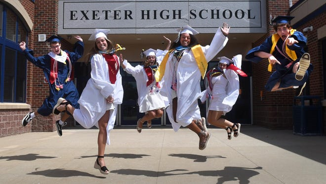 Exeter High School students are looking forward to graduating Saturday. From left are T.J. Johnson, Tess Hays, Eva Hays, Raye Neil, Alexis Lapia and Griffin May.
