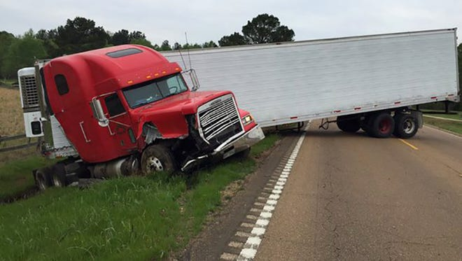 An accident blocks Miss. Hwy. 16 in Madison County Wednesday morning.
