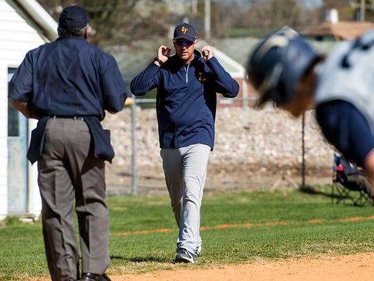 Littlestown head coach Robert Rohrbaugh speaks with