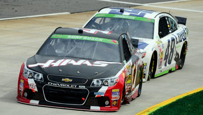 Kurt Busch (41) and Jimmie Johnson (48) finished first and second, respectively, Sunday in Martinsville with Hendrick Motorsports engines and chassis.