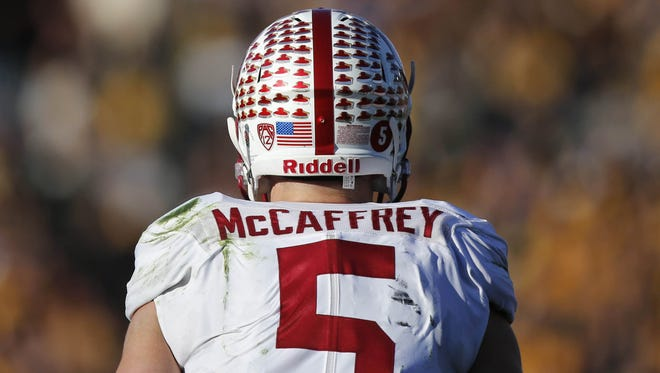 Stanford running back Christian McCaffrey turned out to be a nightmare for Iowa in the first half on Friday, Jan. 1, 2016, at the Rose Bowl in Pasadena, Calif.