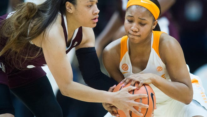 Tennessee's Anastasia Hayes gets the jump ball with Texas A&M's Chennedy Carter which results in a Tennessee possession on Thursday, February 1, 2018.