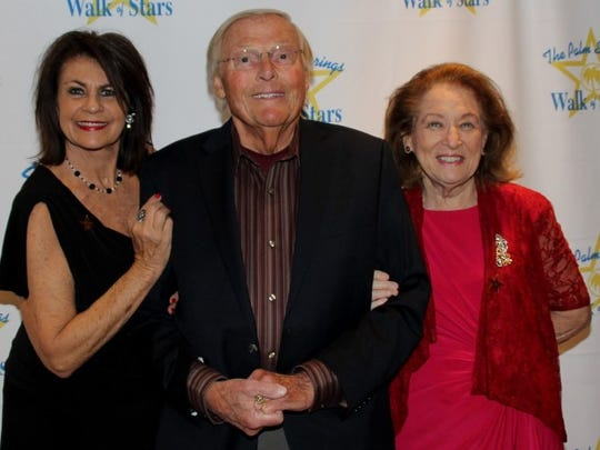 Secretary of the PS Walk of Stars Kathleen Bennett is shown with star holders Adam West and Vicki Blythin.
