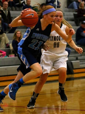 Livonia Stevenson's Grace Lamerson led the Spartans with eight points during Thursday night's victory over Plymouth.