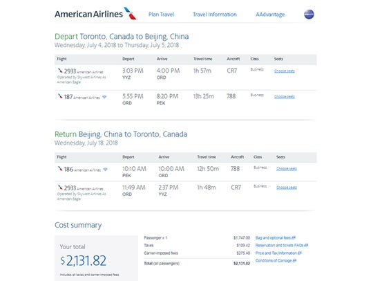 On American, Toronto–Beijing business class starts