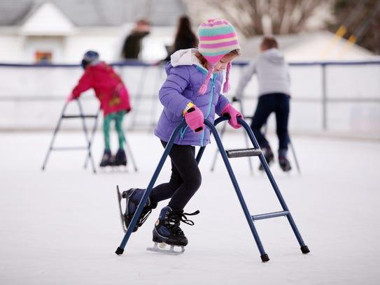 Caroline Bylery, 5, of Mount Solon uses a training