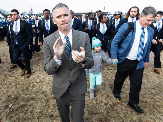 Memphis head coach Mike Norvell takes part in Tiger