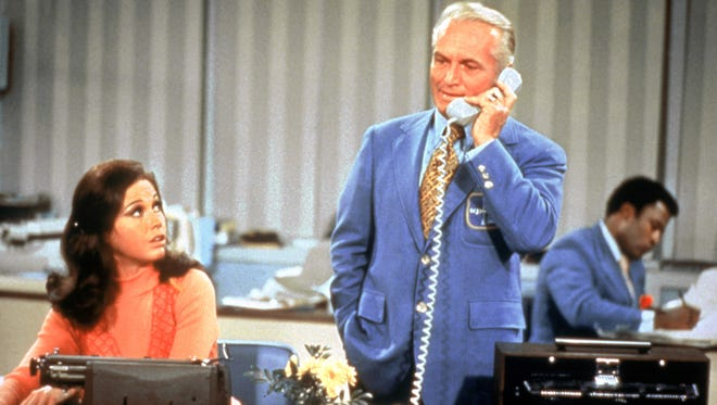 Mary Tyler Moore, left, played Mary Richards and Ted Knight played Ted Baxter in the classic 1970s comedy, 'The Mary Tyler Moore Show.'
