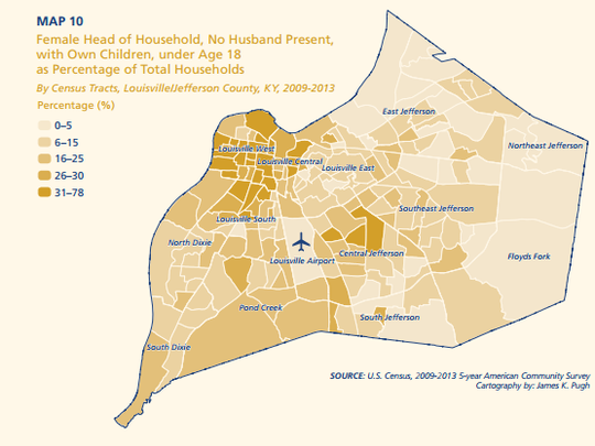 Homes where a female is the head of a household in Louisville.