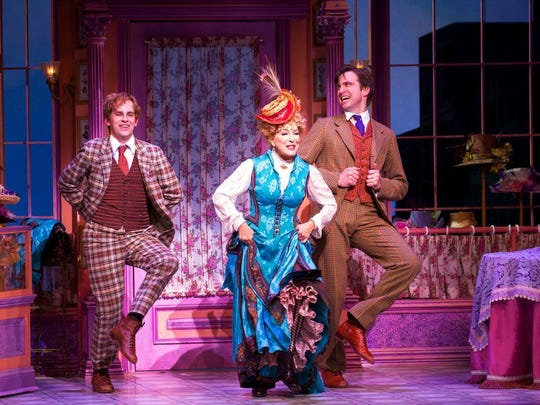"Taylor Trensch (left), Bette Midler and Gavin Creel in a scene from ""Hello, Dolly!"""