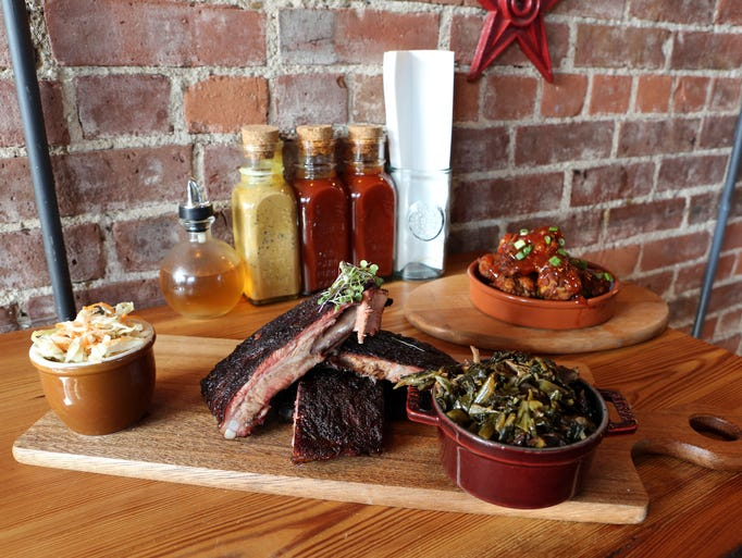 St. Louis ribs with coleslaw and collard greens and