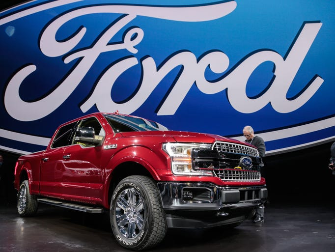 The 2018 Ford F-150 is seen during the Ford unveiling