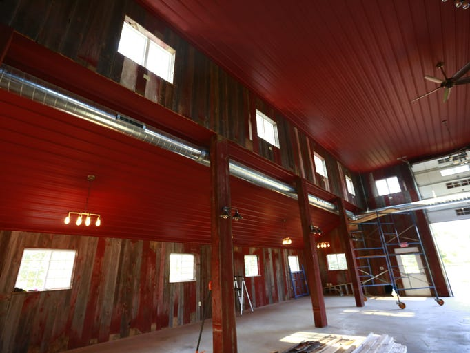 An inside peek at the nearly complete barn at Rock