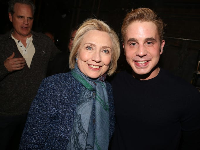 "Clinton and Ben Platt pose at the hit musical ""Dear"
