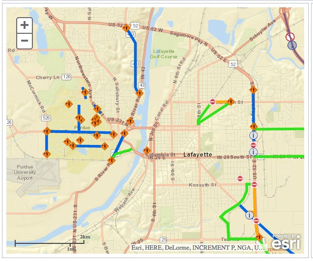 Your map to Greater Lafayette road construction