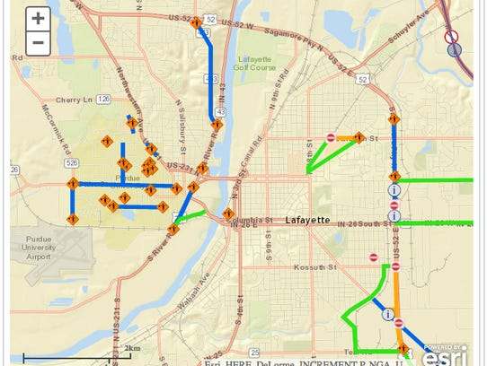 Your Map To Greater Lafayette Road Construction - Lafayette map