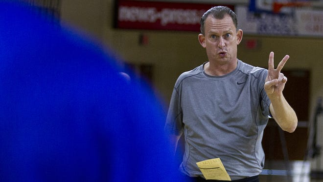 FGCU coach Joe Dooley signals during practice this fall in Alico Arena.