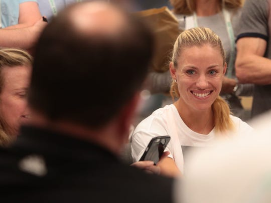 Angelique Kerber, Germany, speaks to media at the BNP Paribas Open on Wednesday, March 8, 2017 in Indian Wells, CA.