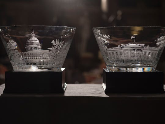 The ceremonial gifts for the President and Vice President are displayed in Statuary Hall in the Capitol for the Inaugural Lunch following Donald Trump's inauguration as the 45th President of the United States, in Washington, DC, on January 20, 2017.  /