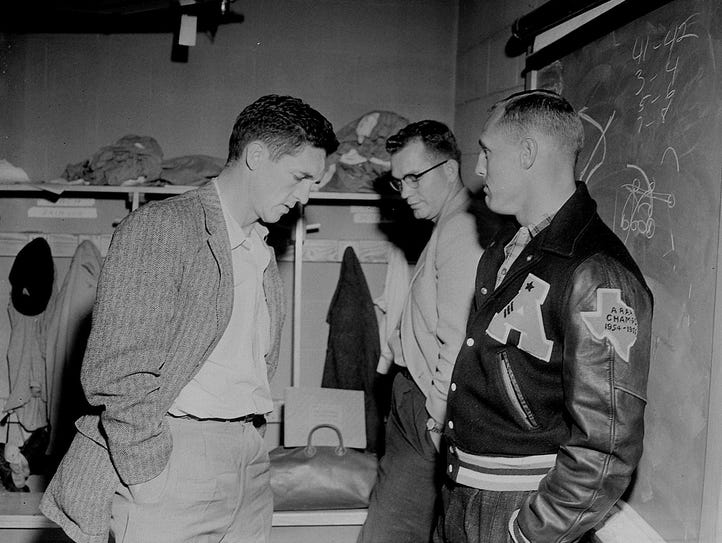 Chuck Moser (left) in the locker room before the Eagles'