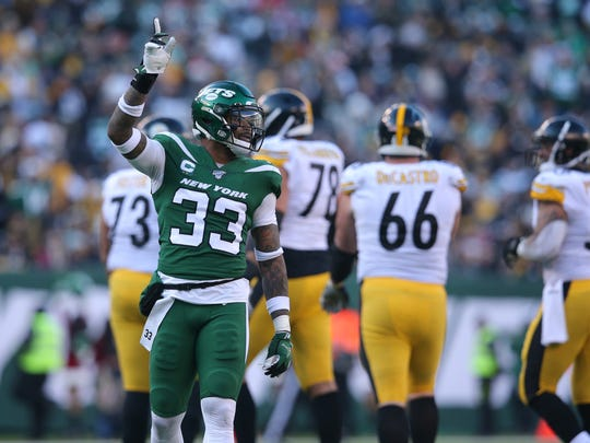 Dec 22, 2019; East Rutherford, New Jersey, USA; New York Jets safety Jamal Adams (33) reacts during the third quarter against the Pittsburgh Steelers at MetLife Stadium. Mandatory Credit: Brad Penner-USA TODAY Sports