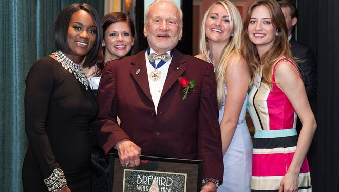 2016 Brevard Walk of Fame Honoree Dr. Buzz Aldrin poses for a photo during the 2016 Brevard Walk of Fame event.