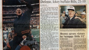 1981Bengals coach Forrest Gregg is carried off the field by Glenn Cameron, left, and Jim LeClair after Cincinnati beat the Steelers on Dec. 13, 1981, at Three Rivers Stadium, Pittsburgh. The Enquirer/Michael E. Keating