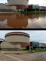 TOP: Floodwaters from Red River have gone past the Clyde Fant Parkway and up to Sci-Port. BOTTOM: A week later.