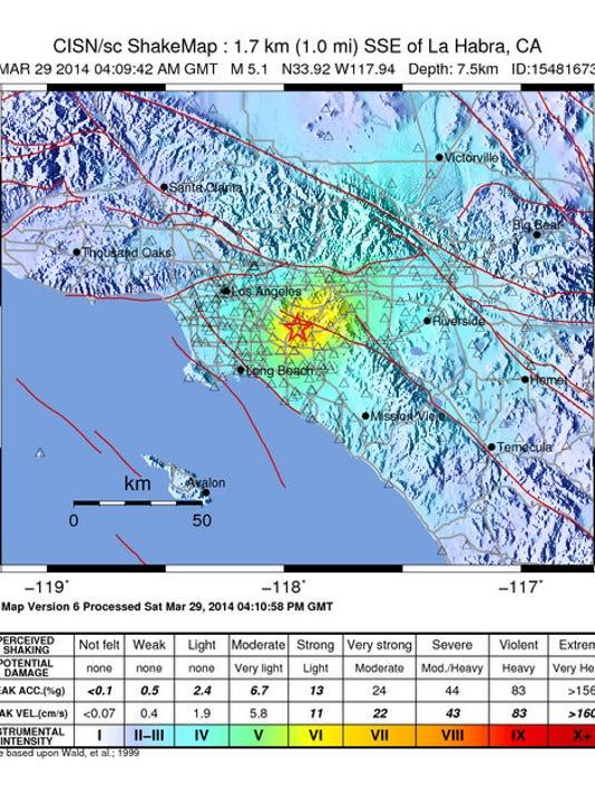 Sothern California Map La Habra Ca.5 1 Magnitude Earthquake Shakes Southern California
