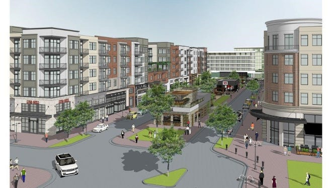 The original concept drawings of the Germantown Town Center. Developers are looking at a revised plan.