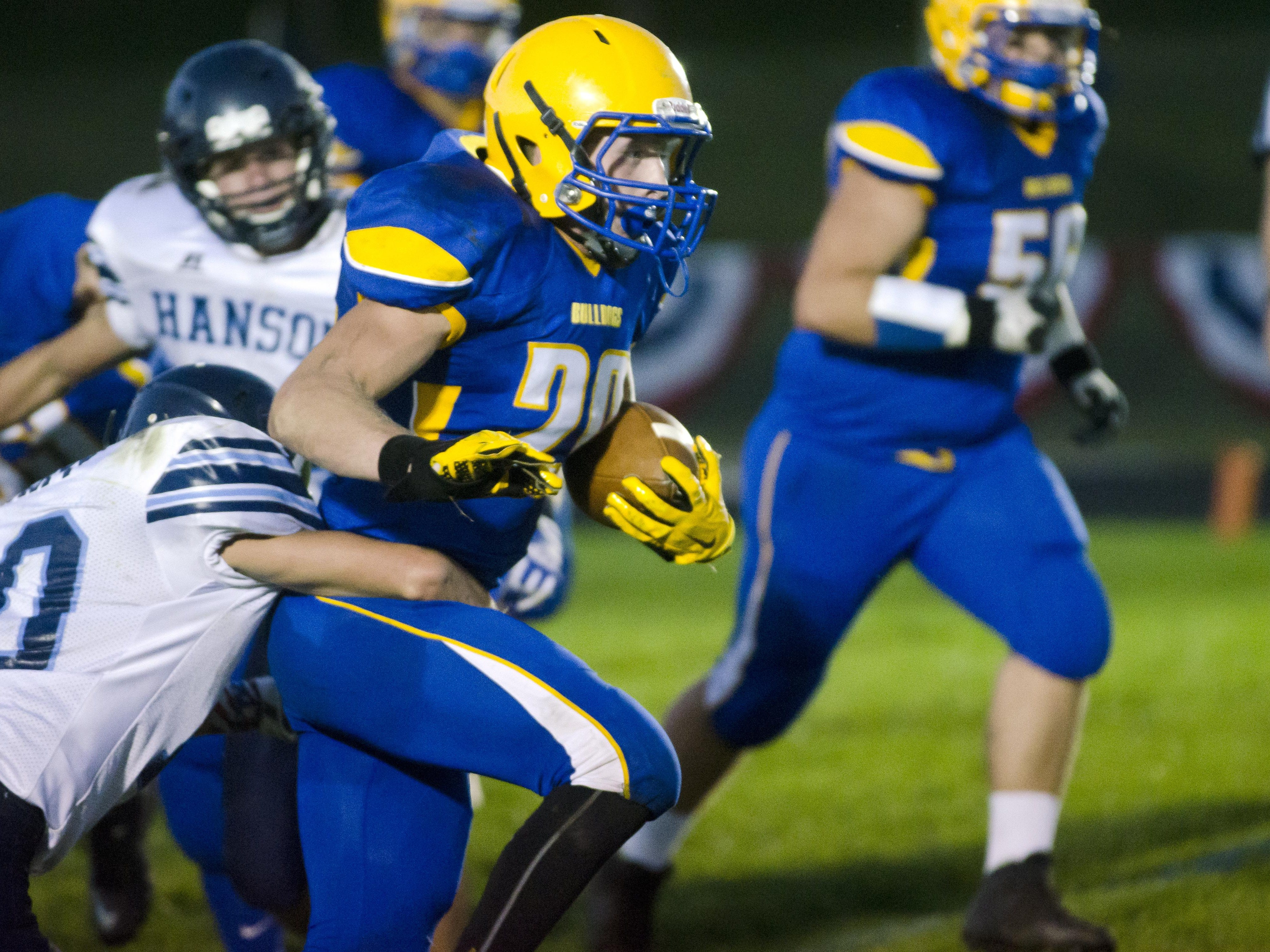 Baltic's Kadin Wolff carries the ball Friday, Sept. 16, against Hanson on Military Appreciation and Parents' Night at Baltic. Wolff had 14 carries for 237 yards and three touchdowns.