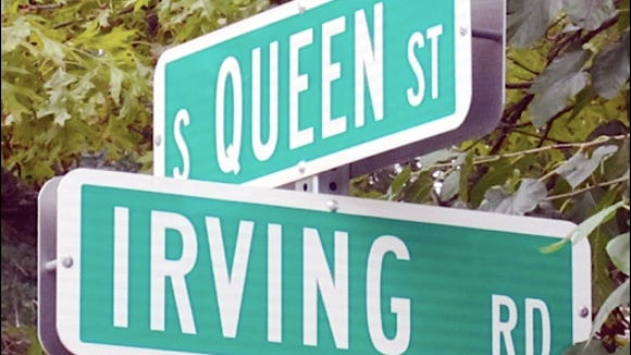 Street signs at location of finish line on the South Queen Street, 975-foot long, Soap Box Derby course in York, PA; from 1952 until 1959 inclusive. (S. H. Smith photo)