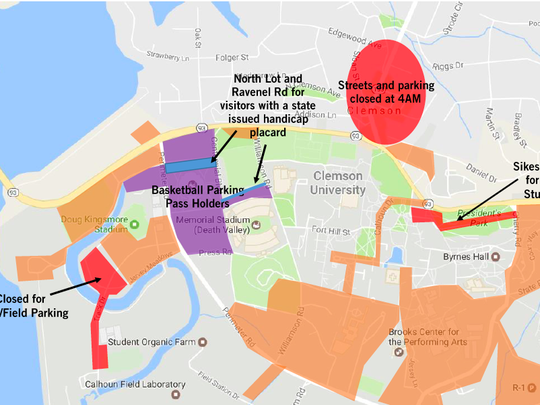 A Clemson University map depicts available parking for Saturday's celebration.