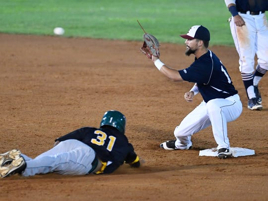 Josh Allen waits for the ball as he gets the tag on