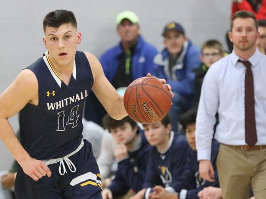 Whitnall's Tyler Herro brings the ball upcourt at Shorewood on Jan. 12.