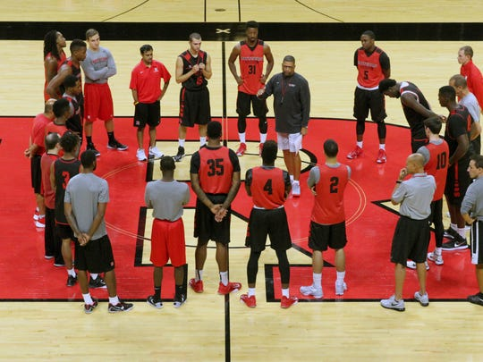 Rutgers men's basketball team take to the court at the RAC in Piscataway for the first day of practice for the up coming 2015-2016 NCAA basketball season on Friday October 2, 2015Here new team member # 33 Deshaun Freeman during practice.