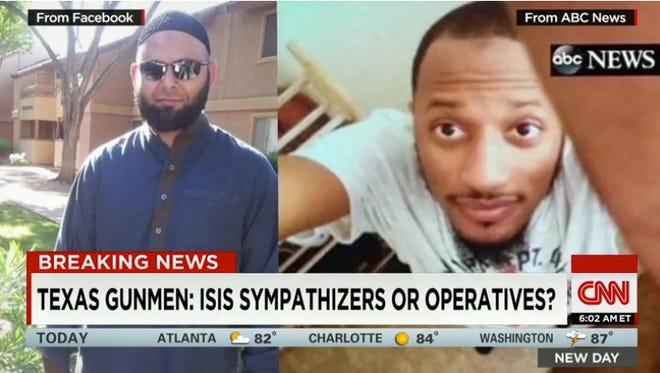 A frame grab from CNN shows Nadir Soofi, left, and Elton Simpson.