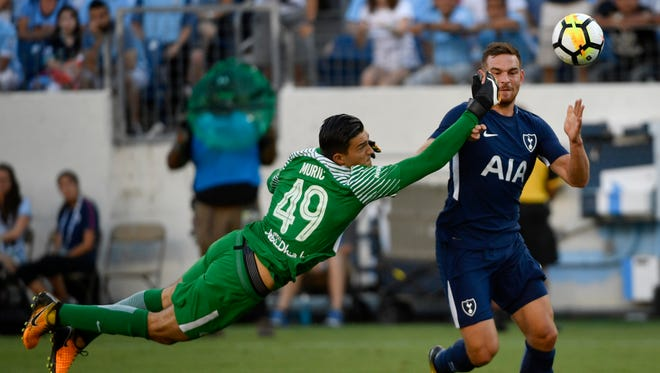 Manchester City goalkeeper Arijanet Muric (49) sends a shot wide from Tottenham Hotspur forward Vincent Janssen (9) looks in the second half of the Manchester City-Tottenham game in the International Champions Cup Saturday, July 29, 2017 at Nissan Stadium in Nashville, Tenn.