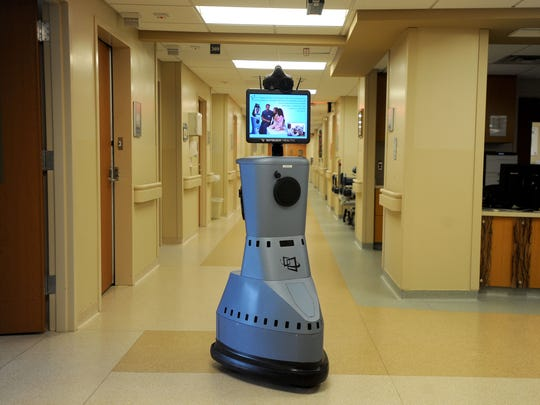 A medical robot allows doctors to see patients remotely at the Mission Health Memorial Campus, 509 Biltmore Ave.