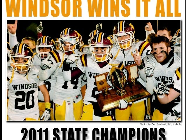 A page from the Windsor Beacon after the Windsor High School football team won the Class 3A title in 2011.